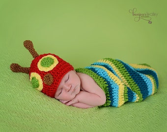 Hungry Caterpillar Inspired Newborn Photo Prop/ Crochet Caterpillar Prop/ Newborn Cocoon Prop
