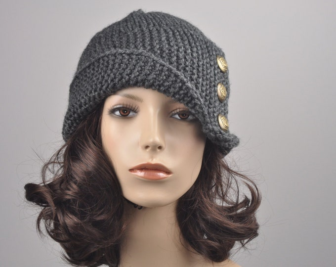 Hand knit hat woman winter hat Fold band hat Charcoal button wool hat