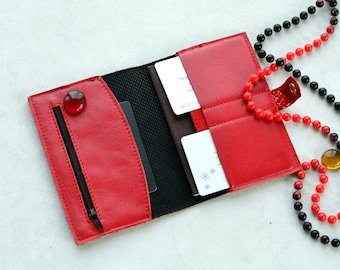 Red glitter passport cover with pockets made of leather with closure