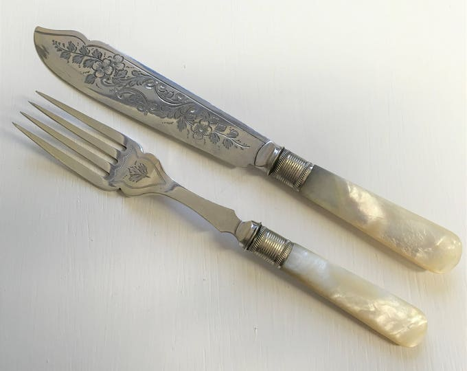 Silver plated 1930s fish knives and forks, with mother of pearl handles