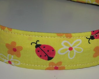 Yellow Fabric Dog Collar - The Ladybug