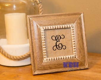 Embroidered Monogram Burlap