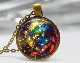 Galaxy Pendant, Nebula Art Pendant, Galaxy Art Necklace, Universe Jewelry, Galaxy Glass Pendant, Solar System Pendant, Bronze, Silver, 161