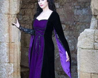 Black & Purple Medieval Style Gown - XS - HALF PRICE!