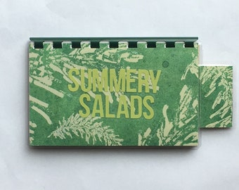 Handmade Green 'Summery Salads' Blank Recipe book for Personal Recipes