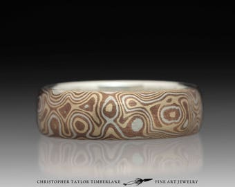 Mokumé Gane Sterling Silver, Shakudo, and Kogane Ring
