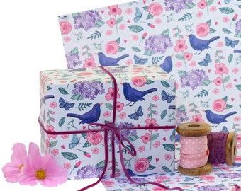 Gift Wrap Single Sheet with tag- Gift Wrapping Paper - Gift Wrapping - Blackbirds - Hydrangea - British Garden Birds - Birds