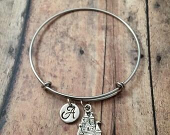 Castle initial bangle- castle jewelry, princess bangle, fairy tale jewelry, pageant bracelet, princess jewelry, castle bracelet