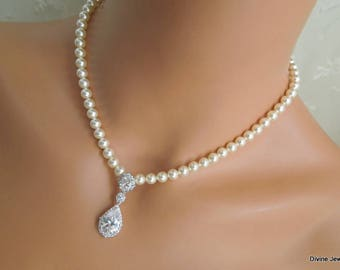 Bridal necklace ivory swarovski pearl and crystal necklace StatementWedding Rhinestone necklace cubic zirconia and pearl necklace ADY