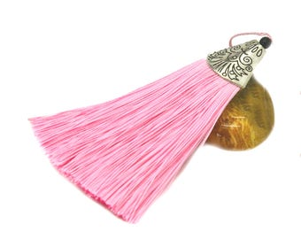 Large tassel 08cm light pink polyester with Silver Cup