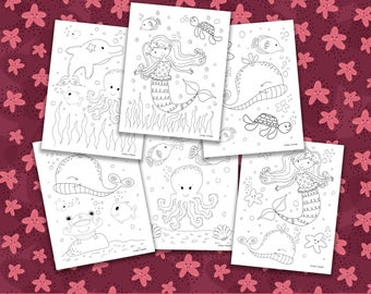 Mermaid Coloring Pages, Printable Coloring Pages, Mermaid Birthday Party Activity, Girls Birthday Party, Kids Coloring Pages
