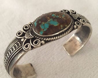Signed Vintage NAVAJO Hand-Stamped Sterling Silver & FOX TURQUOISE Cuff Bracelet