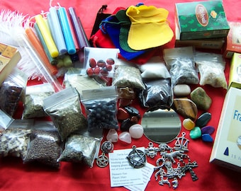 Assorted Pagan Wicca Beginner Supplies - READ DESCRIPTION - Candles Incense Crystals Herbs Charms Stones Mirror Mojo Bag + More