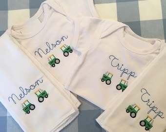 Personalized Tractor Bubble or Onesie or Bib or Burp Cloth  Monogrammed Name