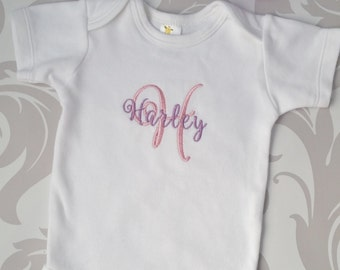 Baby Girl Coming Home Outfit Newborn Baby Girl Personalized Gown or Bodysuit and Headband with Bow
