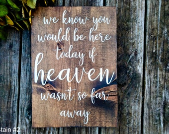 In Loving Memory Sign. Memory Table Sign. We Know You Would Be Here Today If Heaven Wasn't So Far Away. Remembrance Sign. Memorial Sign.