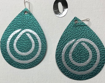 Teal Leather MONAT Earrings with a silver logo