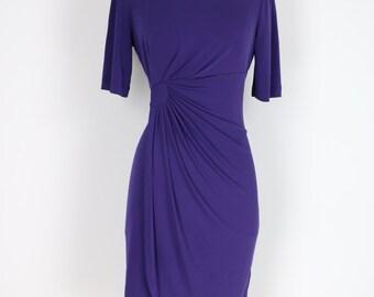 1990s Dress - Faux Wrap Dress - Purple - Gathered Waist - Side Drape - Half Sleeve - Knee Length Vintage Dress - Size Medium Large