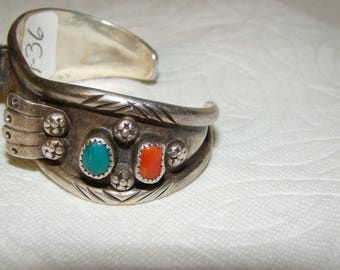 NA 3-Q Sterling, Turquoise & Coral NA Watch Bracelet
