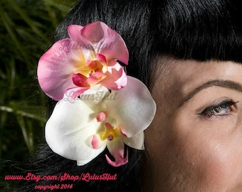 Pink & White Double Orchid Hair Clip,Pink Orchid, White Orchids, Double Orchids
