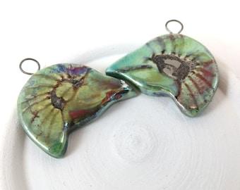 Raku Fired Ceramic Pendants,Handmade Jewelry Supplies,Earring Components,Iridescent Metallic Shine,Aztec Design,Bird Head,Spring Fashion