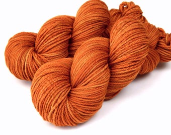 Hand Dyed Yarn, Worsted Weight Superwash Merino Wool Yarn, COPPER, Indie Dyed Hand Knitting Yarn, Crafter Gift Idea, Orange