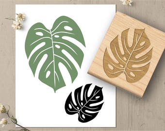 Monstera Leaf Rubber Stamp, Tropical Leaf Stamp, Nature Stamp, Foliage Rubber Stamp, Plant Stamp, Art Stamp, Large Stamp 017