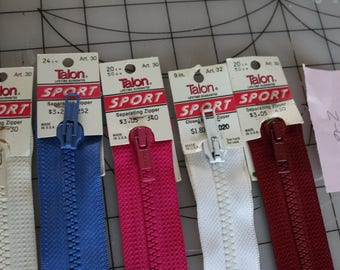 29 Z-6  Vintage Talon Sports Zippers new with tags separating zippers