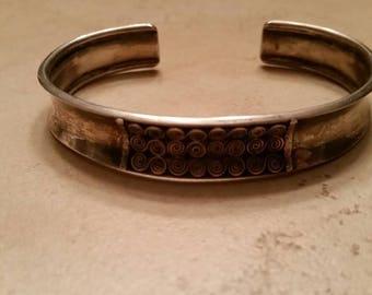 Sterling Silver Cuff Bracelet Scroll Detailing 925