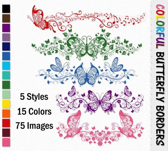 Bordi colorati decorativi floreali butterfly clip arte grafica for Bordi decorativi