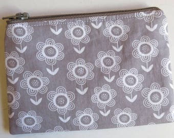 Grey flower print purse - coin purse in contemporary floral print