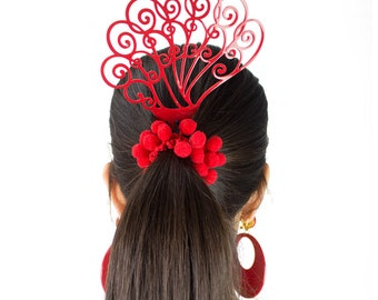 Ole Ole Flamenco Red Girl Acetate Comb