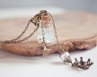 Queen Necklace, Glass Vial Necklace, Princess Necklace,  Cute Necklace, Miniature bottle, gifts for woman, fantasy pendant, gifts for her