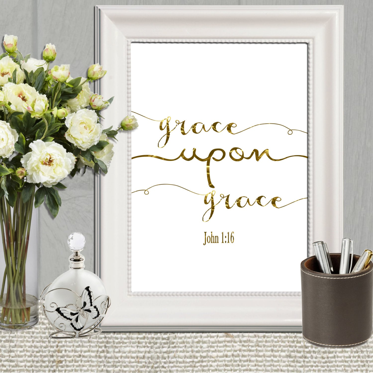Gold Letter Wall Art Grace Upon Grace Print Gold Christian Art Gold Letters Wall