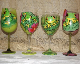 hand painted aMAZON Frog 20oz Wine glasses, unique creations esclusive designs!