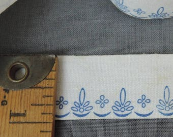 5 Yards Vintage Printed Cotton Ribbon Trim, 1 inch wide, 1900s Edwardian Blue Floral