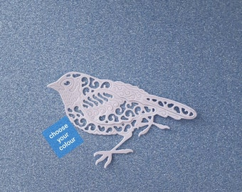 Bird - intricate die cut - flat colour cardstock - approx 5.5cm/2.2 inches x 8.5cm/3.4 inches