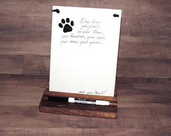 Dogs Leave Pawprints On Your Heart Decorative Hanging Ceramic Tile or Dry Erase Message Board