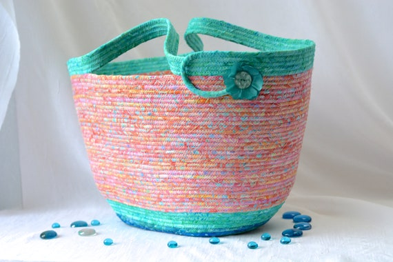 Gorgeous Tote Bag Basket, Handmade Batik Beach Bag, Aqua Moses Basket, Laptop Case, Gift Basket, Turquoise Rope Basket