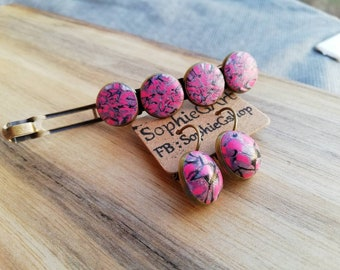 Polymer clay hair clip and earrings