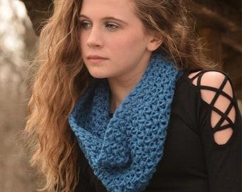 Blue Neck Warmer/Cowl/Scarf /Scarflette/Crochet Neck Warmer