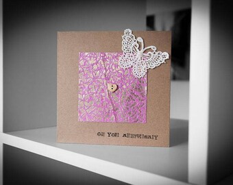 Metallic Paper With Lace Butterfly Anniversary Card