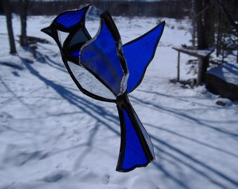 3-D bluejay stained glass suncatcher