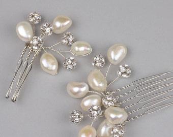 Genuine Pearl and Rhinestone Wedding Hair Combs, High quality baroque pearl bridal comb set, Set of two pearl and rhinestone hair pins