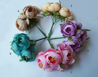 5 bouches Artificial Silk Flowers , 6 blooms Mini Flowers for Wedding Centerpieces Supplies , Artificial flowers