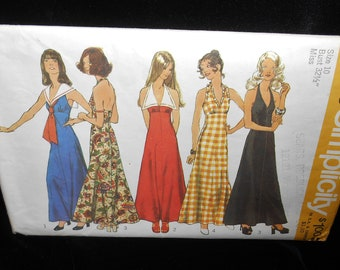 Misses dress Simplicity 5349 Womens size 10 Halter Summer Ankle Length Ruffles Collar