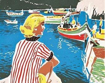 Vintage Malta Tourism  Poster A3 Print