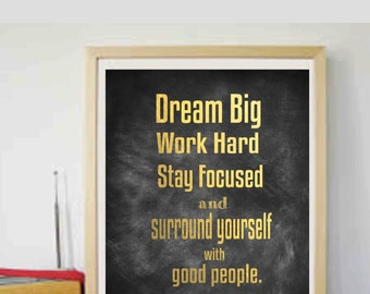 Gold Effect Prints Motivational Printable Dream Big Printable Motivational Typography art Printable Art Instant Download