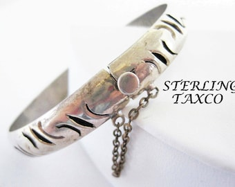 Sterling  Taxco Bracelet, Sterling Signed Bangle - 925 Mexico - Hinged with Safety Chain