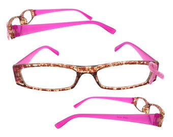 Women's 2.25 Strength Reading Glasses with Hand-Applied Pink Ribbon for Breast Cancer Awareness